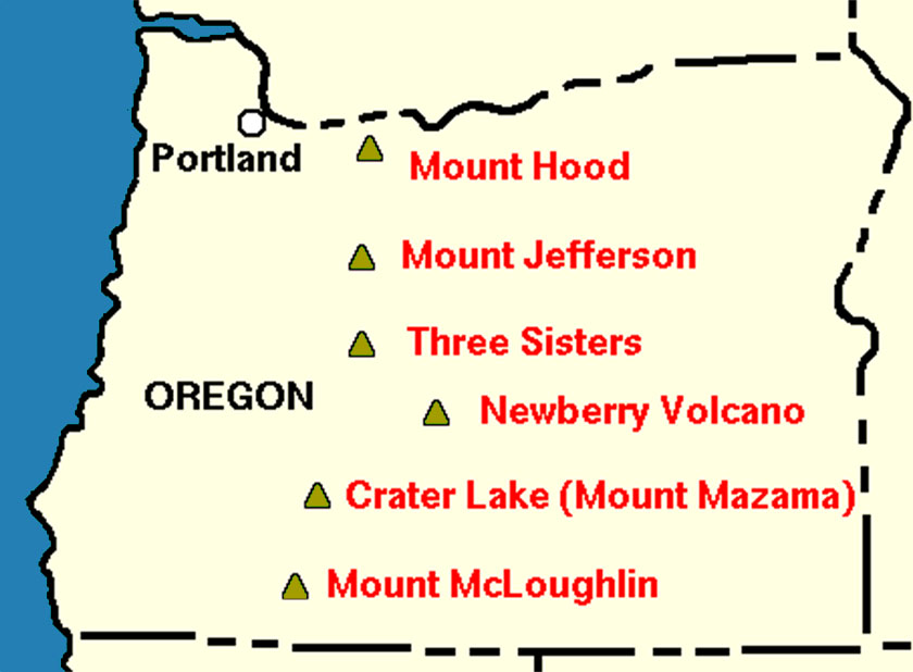 Oregon Volcano Map