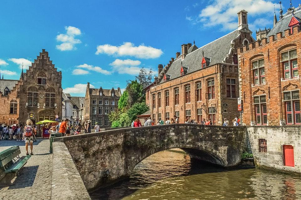 Belgium Brugge Canal Bridge